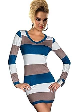 Ninimour- Fashion Print Women Bodycon Mini Dress Clubwear (M, Blue Gray)