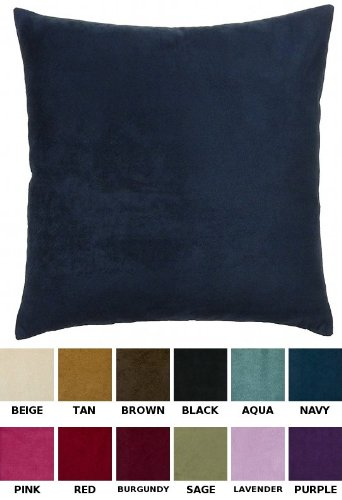"Discover Bargain Solid Faux Suede Decorative Pillow Cover, 18"" X 18"" - Navy"