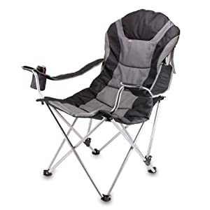 Picnic Time Portable Reclining Camp Chair, Black Gray by Picnic Time