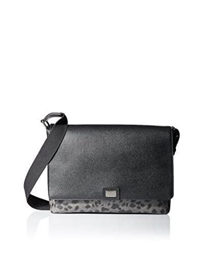 Dolce & Gabbana Men's Animal Print Messenger, Black/Grey