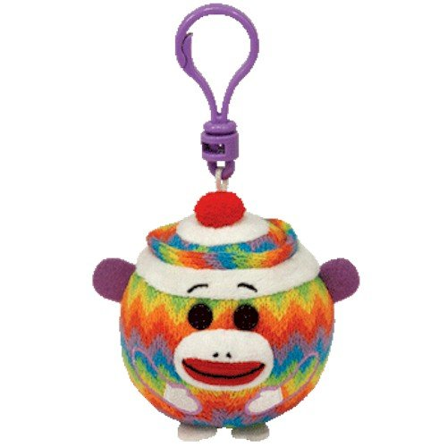 Ty Beanie Ballz - Sock Monkey - Rainbow Clip back-911178