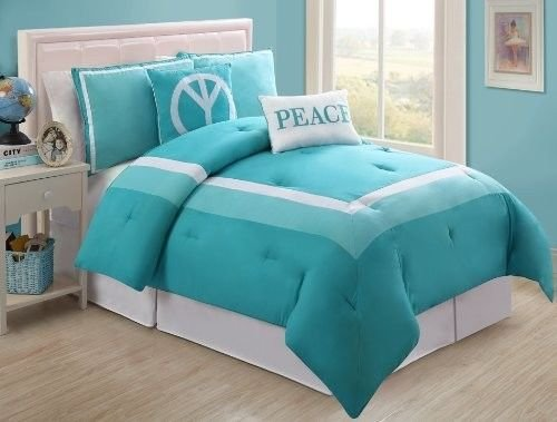 New Bed Bag Twin Full 5 Pc Turquoise White Peace Sign Comforter Pillow Set Girls front-928397