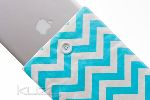 #!  Kuzy - 15-inch AQUA Chevron Cotton Sleeve Handmade Cover for MacBook Pro 15.4