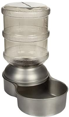 Petmate Stainless Steel Replendish Pet Waterer With Water Bottle and Steel Base, Small