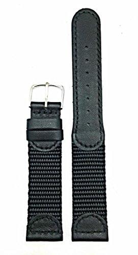 Newlife Black Swiss Army Style; Soft Leather And Nylon 20Mm