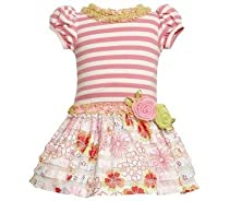 Bonnie Jean Girls 2-6X Knit Bodice To Drop Waist Print Ruffle Skirt, Pink, 2T