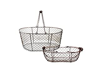 Egg Collecting Baskets -- Wire Mesh, Brushed Copper, Large and Small, Set of 2