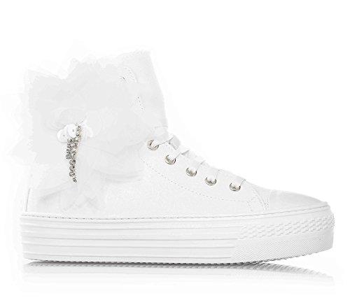 TWIN-SET - Sneaker bianca, bianco, scarpa, stringata in tessuto, alla moda, firmata, Donna, ragazza e ragazze, Bambina-29