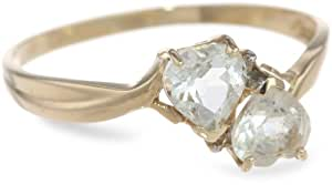 10k Yellow Gold White Topaz and Diamond Heart Ring (0.02 cttw, I-J Color, I1 Clarity), Size 5