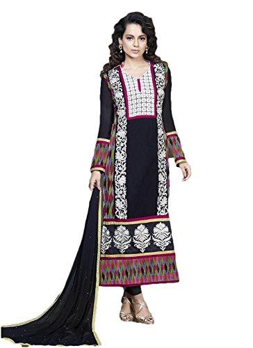 Adah Fashions Womens Georgette Anarkali Dress Material (597-8003 -Black -Free Size)