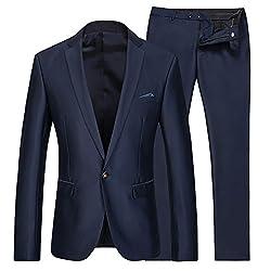 Cloud Style(コゥロード スタイル)ビジネス メンズジャケット 光沢あり 紳士服 就職/結婚式/入社式 上下セットスーツ 【S-3XL】(ダークブルー,XL)