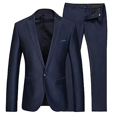 Cloud Style(コゥロード スタイル)ビジネス メンズジャケット 光沢あり 紳士服 就職/結婚式/入社式 上下セットスーツ 【S-3XL】(ダークブルー,S)