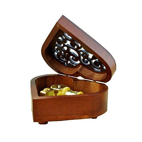 Heart Shape Vintage Wood Carved Mechanism Musical Box Wind Up Music Box Gift For Christmas/Birthday/Valentine's day, Melody Castle in the Sky 1