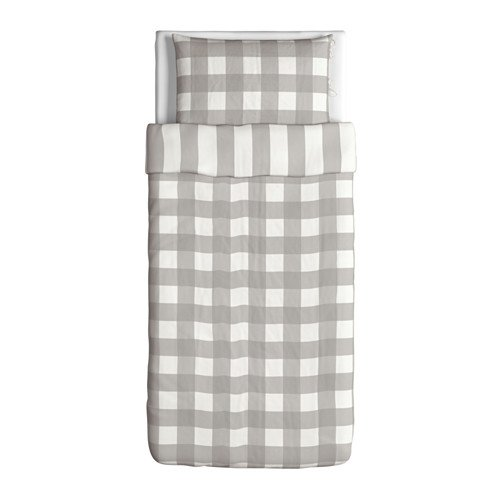 Ikea Emmie Ruta Duvet Cover and Pillowcases, Twin, Gray (Ikea Sheets Queen compare prices)