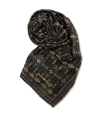 Printed Village Women's Deco Elements Scarf, Black/Gold/Brown