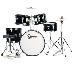 complete 5 piece black junior drum set with cymbals stands sticks hardware stool. Black Bedroom Furniture Sets. Home Design Ideas