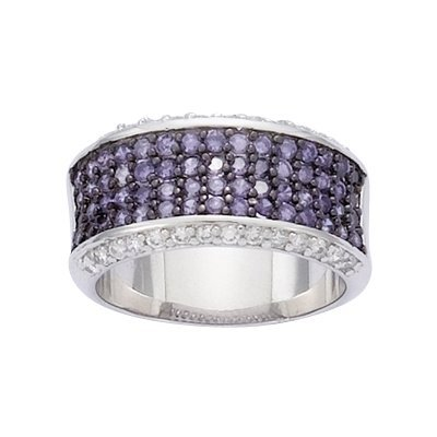 Sterling Silver Violet & Clear Cubic Zirconia Half Eternity Band Ring - Size 6