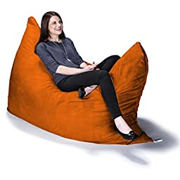 Jaxx Pillow Saxx 5.5\' Bean Bag Pillow, Orange Microsuede