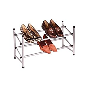 Richards Homewares Stackable Telescoping Shoe Rack-Silver