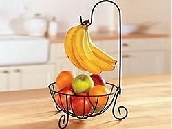 【la select】フルーツスタンド フルーツバスケット バナナ フック 果物かご [黒]