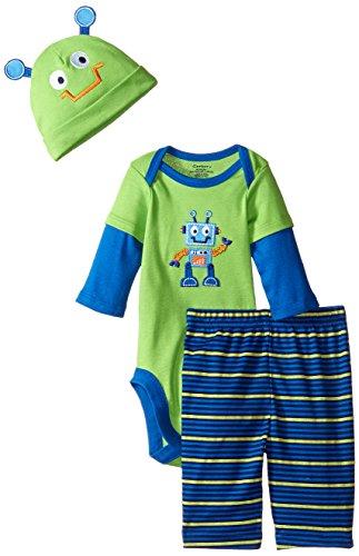 Gerber Baby-Boys Newborn 3 Piece Bodysuit Cap and Pant Set, Monster, 3-6 Months