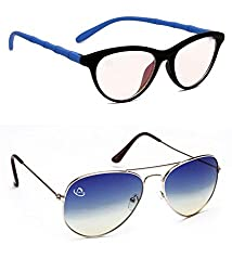 Aventus Combo of Summer Blue Aviator & Clear Lens Cateyes Women COMS02S14