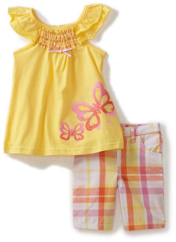 Nannette Toddler Girls Yellow Plaid Bermuda Set