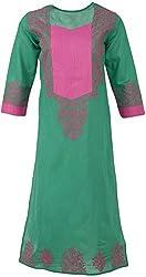 ALMAS Lucknow Chikan Women's Cotton Regular Fit Kurti (Green and Pink)