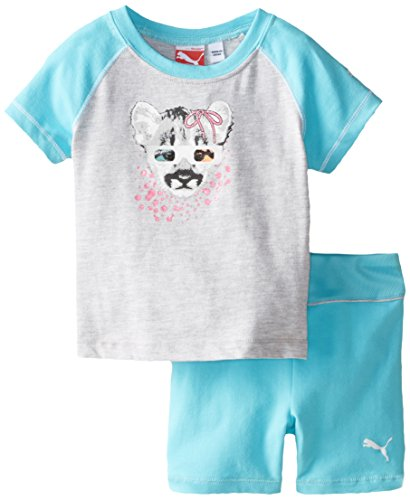 PUMA Baby Girls' Ragla Tee and Short Set, Faster Blue, 12 Months