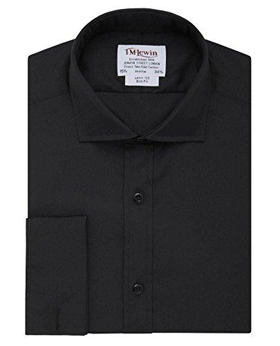 tmlewin-camisa-casual-basico-cutaway-manga-larga-para-hombre-negro-negro
