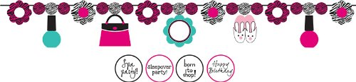 Creative Converting Pink Zebra Boutique Ribbon Garland with Slumber Party Shapes