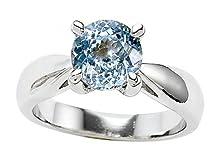 buy Star K 7Mm Round Simulated Aquamarine Ring Size 5.5