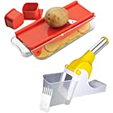 Angel Kitechen Tools Combo Of Potato Chipser / Finger Chipper - Rendom Colour | 2 In 1 Garlic Slicer Cutter Shredder Function Kitchen Tool [SK - 1004]