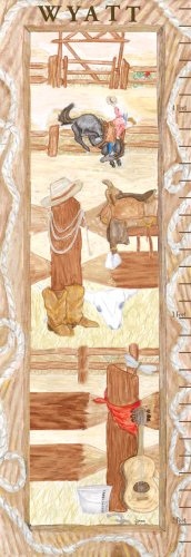 "Art 4 Kids ""Cowboy Gc Can"" Mounted Art Print, 12""X36"""