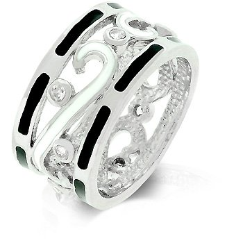 White Gold Rhodium Bonded Fashion Eternity Ring with Black and White Enamel and Clear CZ Accents