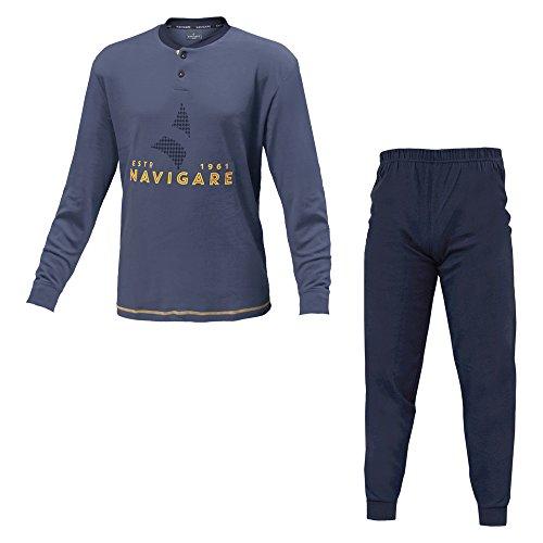 Pigiama Uomo NAVIGARE Cotone Interlock 3 Colori Serafino Art.140663 ( Jeans - 48 / M)