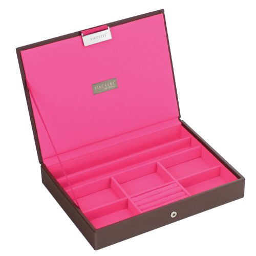 Stackers Jewellery Box | Classic Chocolate Brown & Bright Pink Stacker Lid