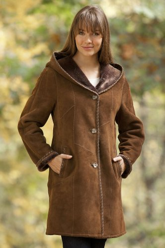 Women's Aisley Hooded Shearling Sheepskin Coat, TOBACCO, Size LARGE (12)