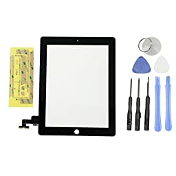 Teenitor Black LCD Touch Screen Glass Digitizer For Apple iPad 2 Black , Tools and Adhesive