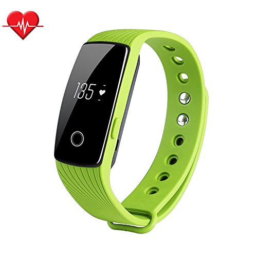 Fitness Tracker & Heart Rate Monitor, ID107 Bracelet Pedometer Watches Sleep Monitor Life Waterproof Fitness Band Wristband for Android iOS Phones, green