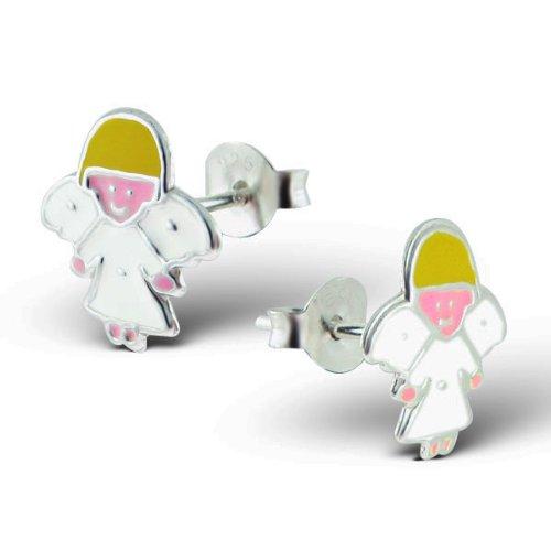 Sterling Silver Children's Guardian Angel Earrings