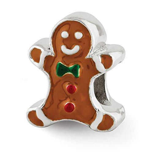 Enameled Gingerbread Man Charm in Sterling Silver