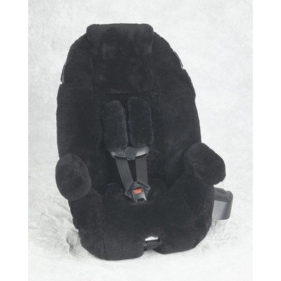 Custom Sheepskin Convertible Car Seat Cover Seat Model: Evenflo Booster, Color: Black