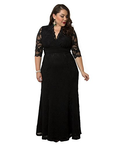 Kiyonna Women's Plus Size Screen Siren Lace Gown 2x Onyx