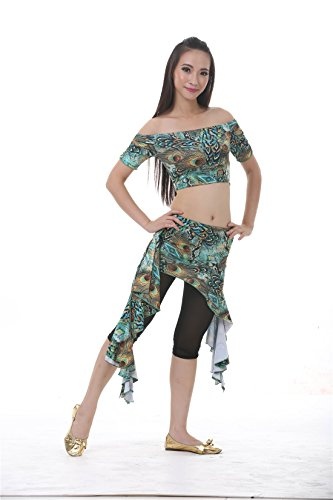 3pcs Green Belly Dance Peacock Pattern Waist Skirt Suit Exercise Clothing For Women