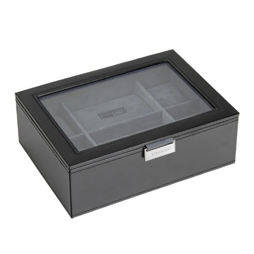 STACKERS - Men's Executive Black Glass Lidded 8pc Watch Box STACKER with Grey Velvet Finish Lining