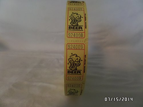 2000 Yellow Beer Single Roll Consecutively Numbered Raffle Tickets - 1