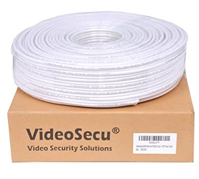 VideoSecu RG59 /U Siamese CCTV Combo Coaxial Cable 300ft ,20AWG 18/2 18AWG Video Power Security Camera Cable Home Surveillance DVR System Extension Wire Cord AA1