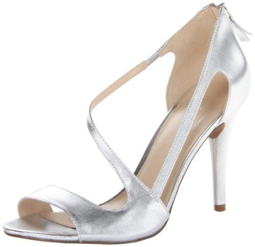 Nine West Women's Simplistic Leather Dress Sandal,Silver,7.5 M US