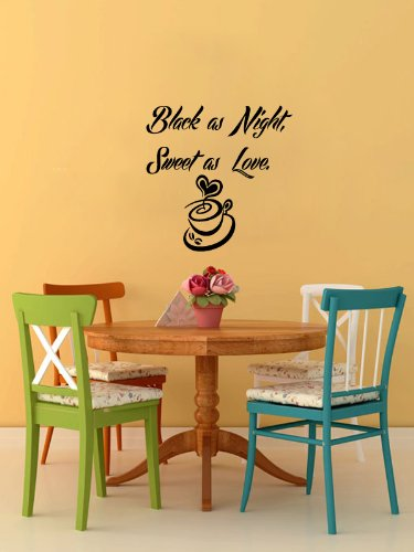 Housewares Vinyl Decal Coffee Black Night Sweet Love Cup Home Wall Art Decor Removable Stylish Sticker Mural Unique Design For Room Kitchen Coffee Shop Cafe